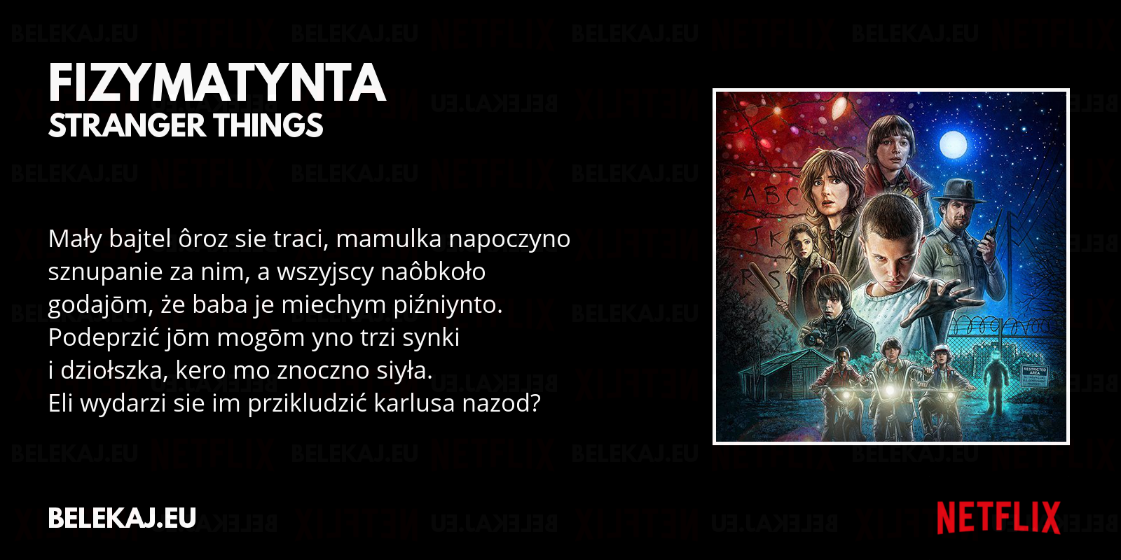 Stranger Things - Netflix po śląsku